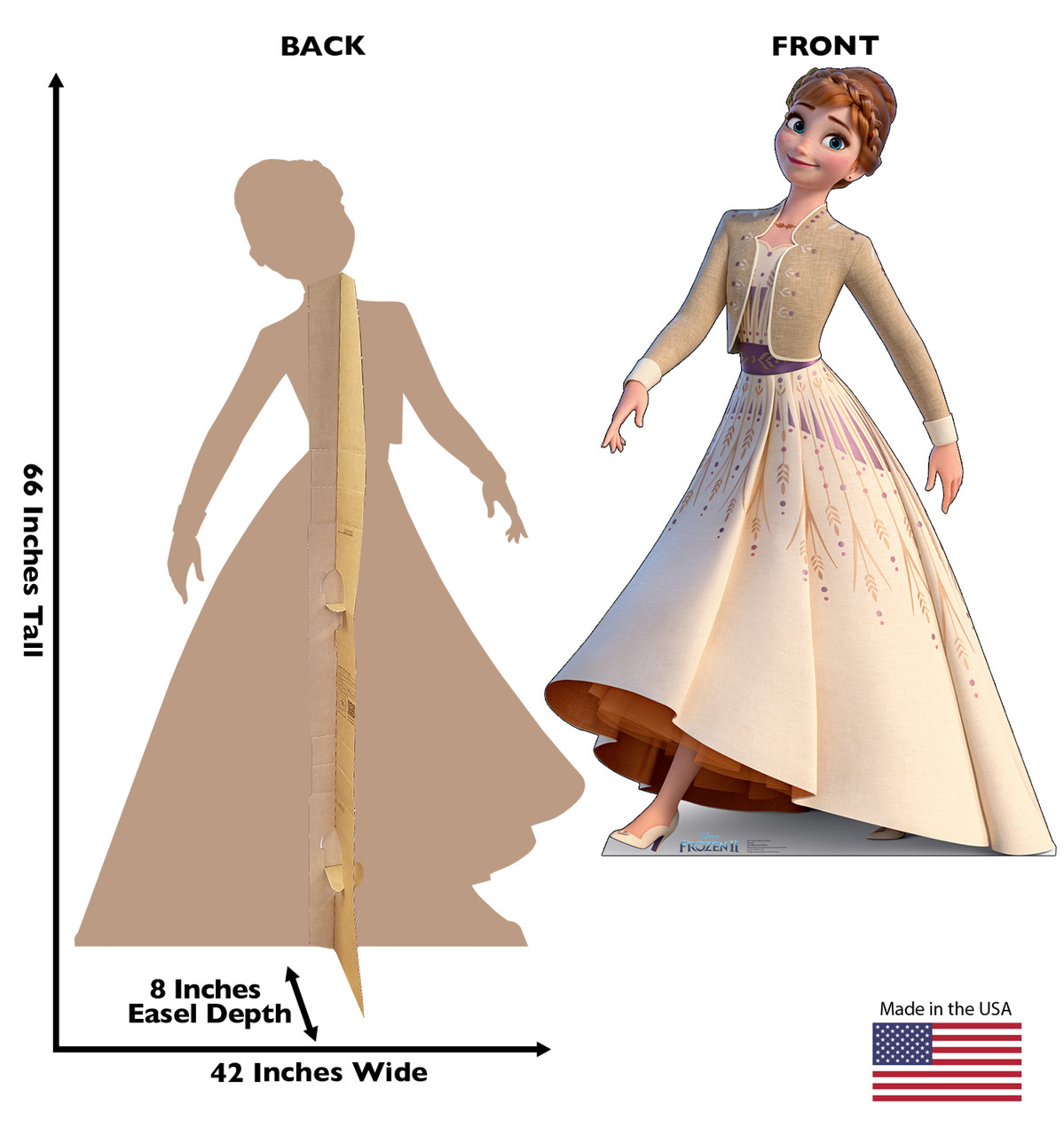 Life-size cardboard standee of Anna (Collector's Edition) from Disney's Frozen 2 with back and front dimensions.