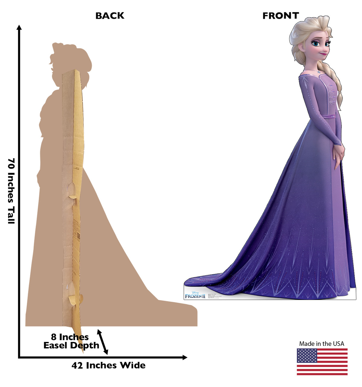 Life-size cardboard standee of Elsa (Collector's Edition) from Disney's Frozen 2 with back and front dimensions.