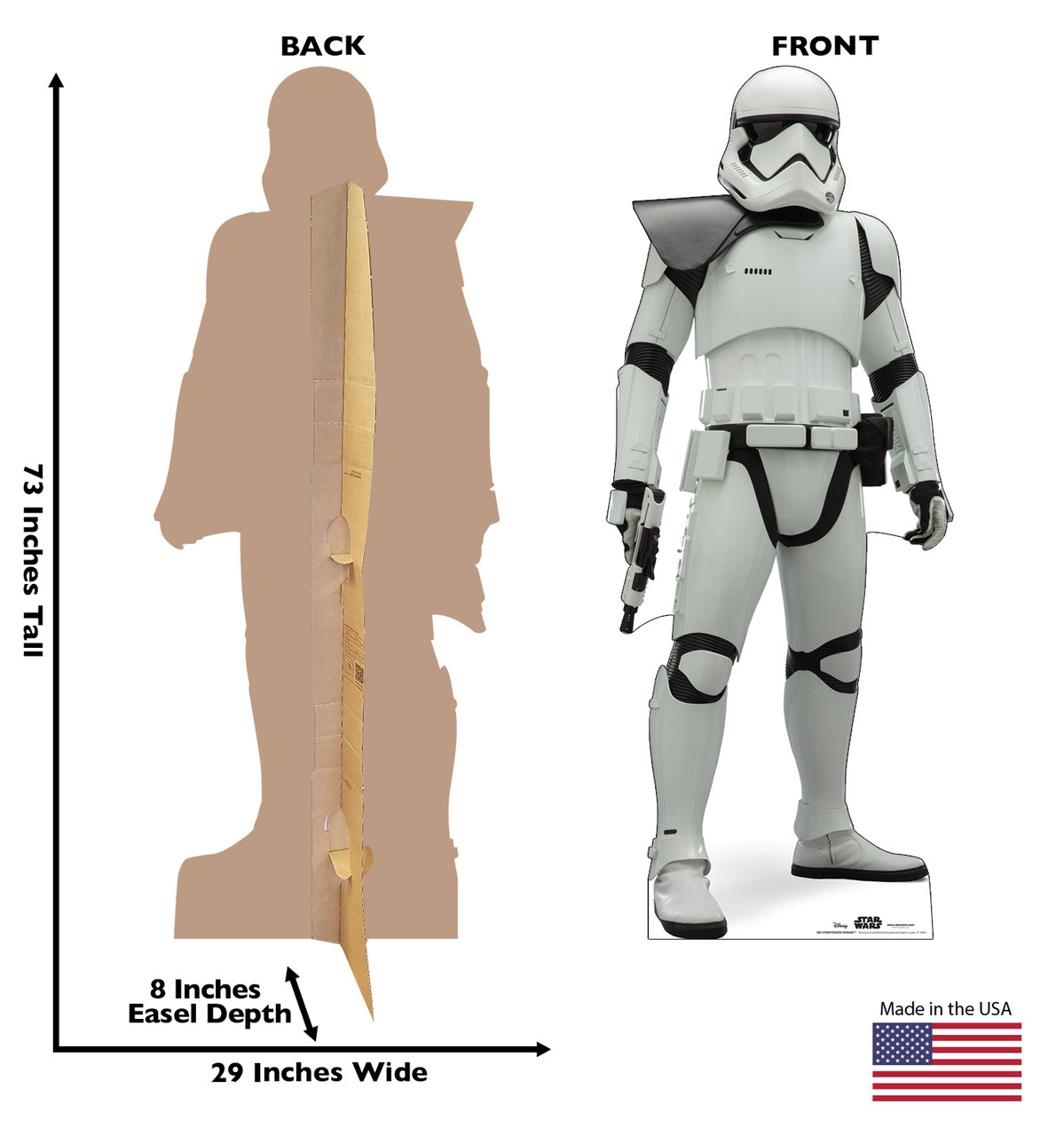 Life-size cardboard standee of Stormtrooper Sergeant™ (Star Wars IX) with back and front dimensions.