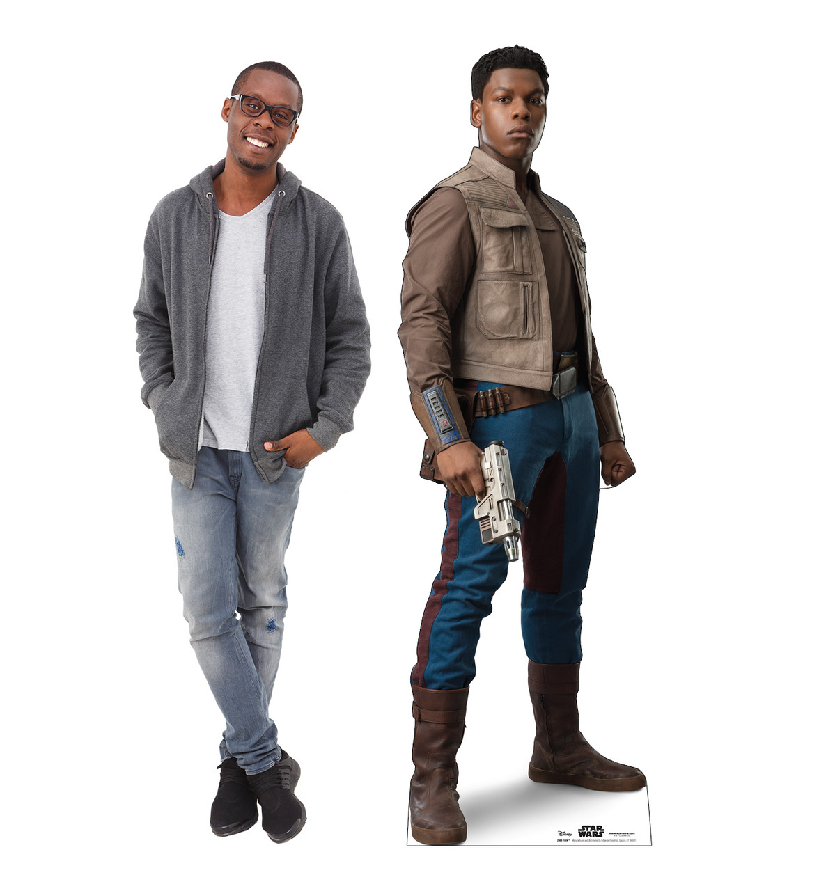Life-size cardboard standee of Finn™ (Star Wars IX) with model.