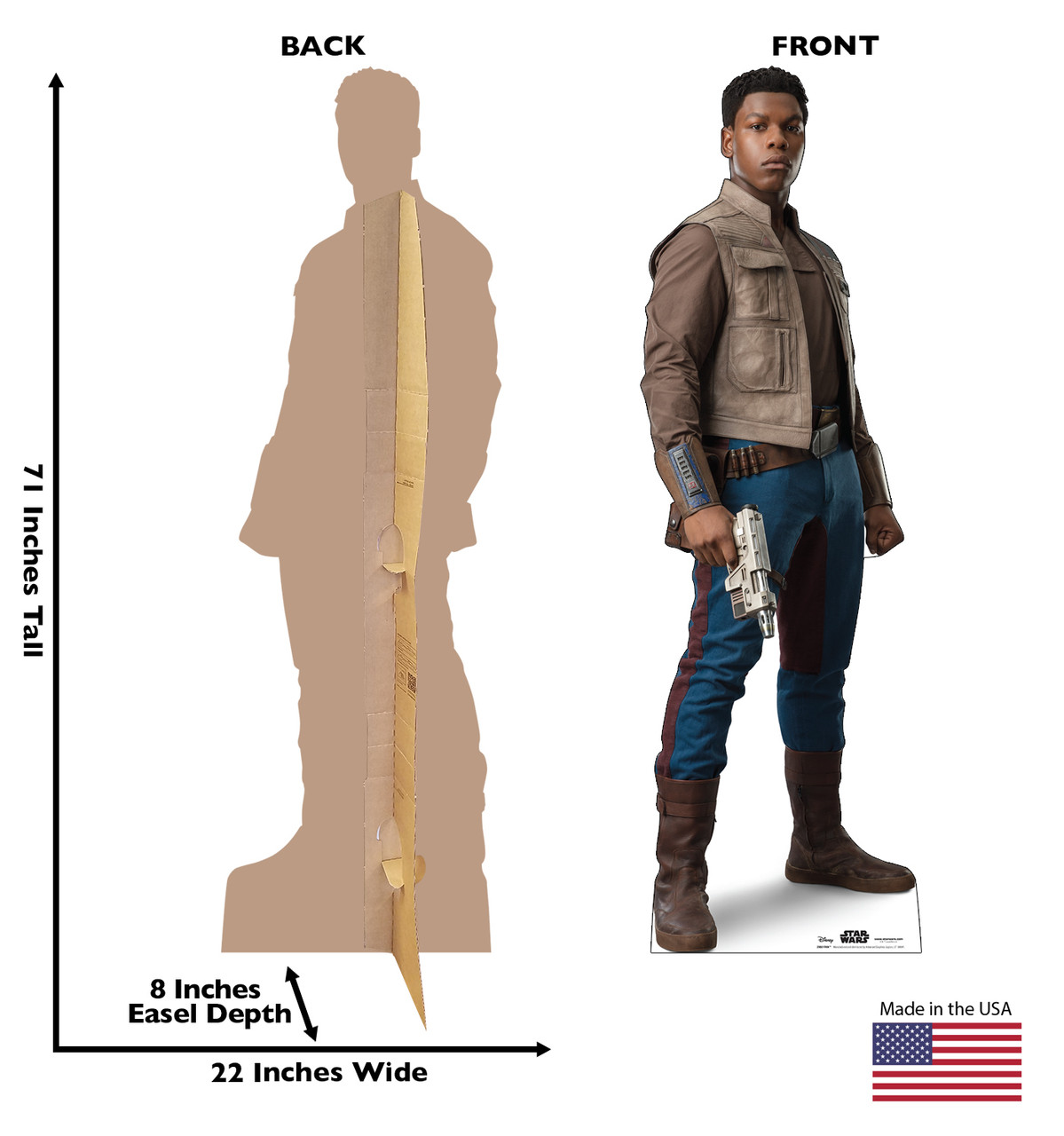 Life-size cardboard standee of Finn™ (Star Wars IX) with back and front dimensions.