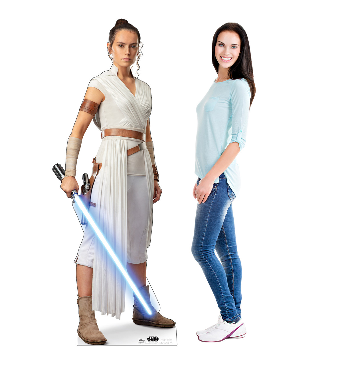 Life-size cardboard standee of Rey™ (Star Wars IX) with model.