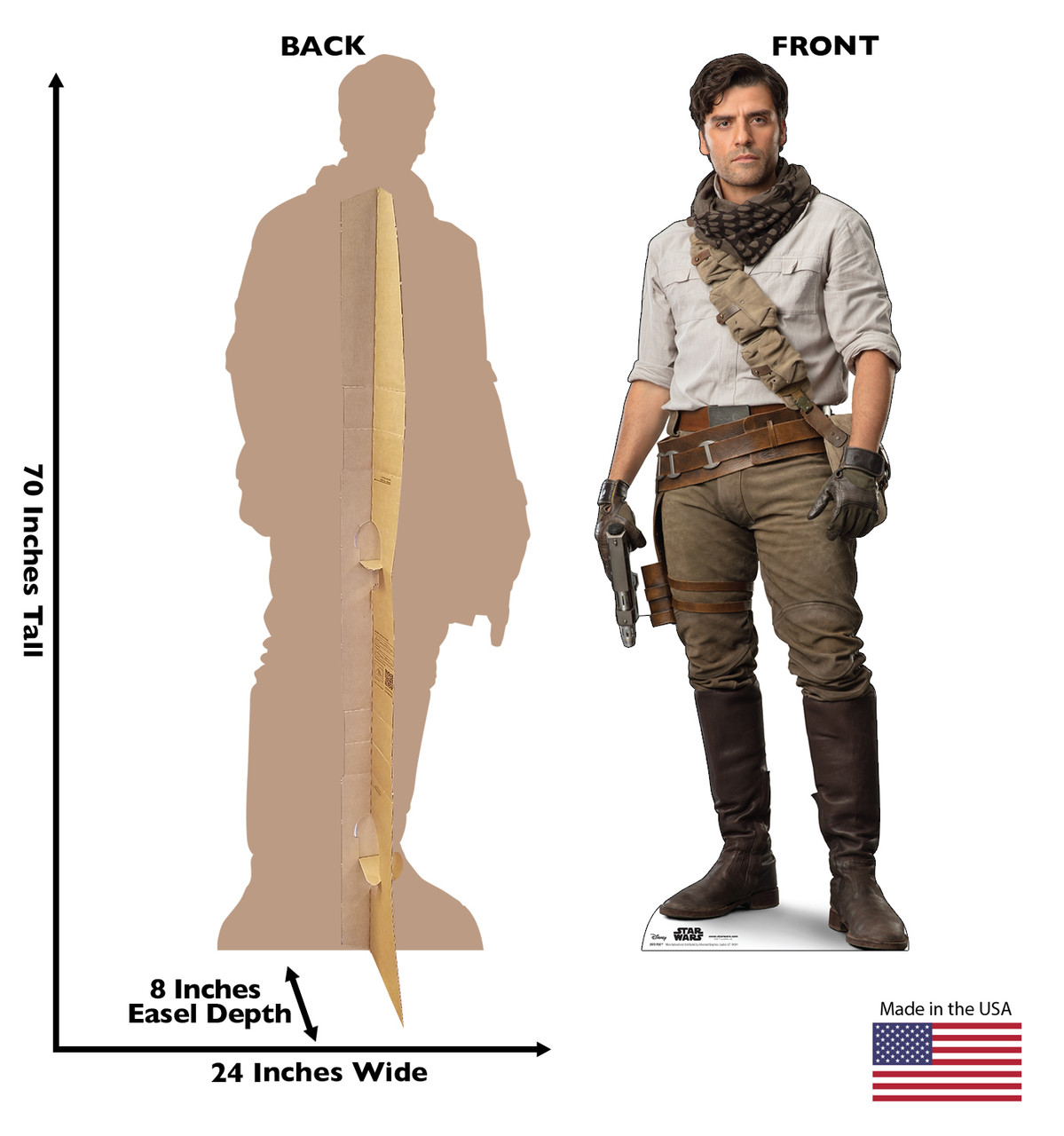 Life-size cardboard standee of Poe™ (Star Wars IX) with back and front dimensions.