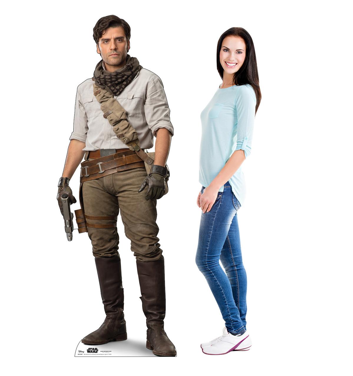 Life-size cardboard standee of Poe™ (Star Wars IX) with model.