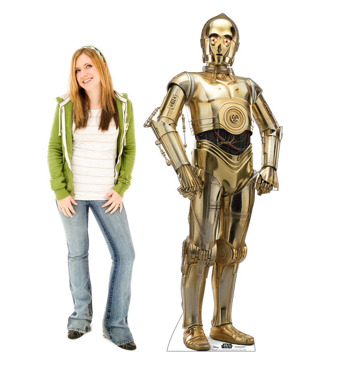 Life-size cardboard standee of C-3PO™ (Star Wars IX) with model.