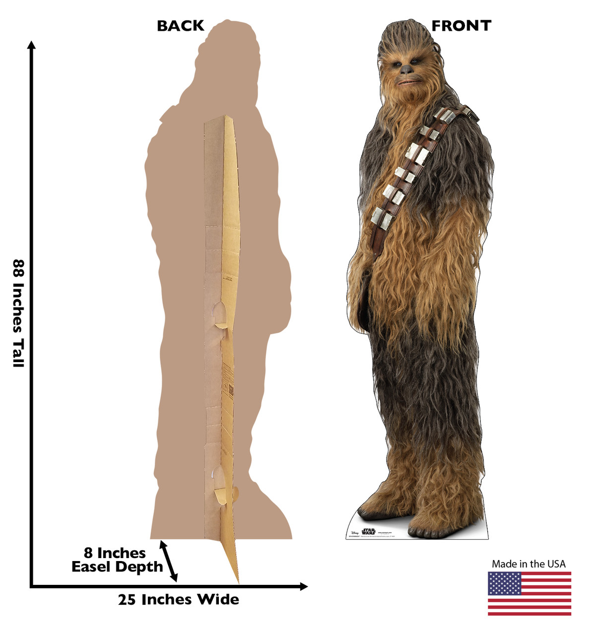 Life-size cardboard standee of Chewbacca™ (Star Wars IX) with back and front dimensions.