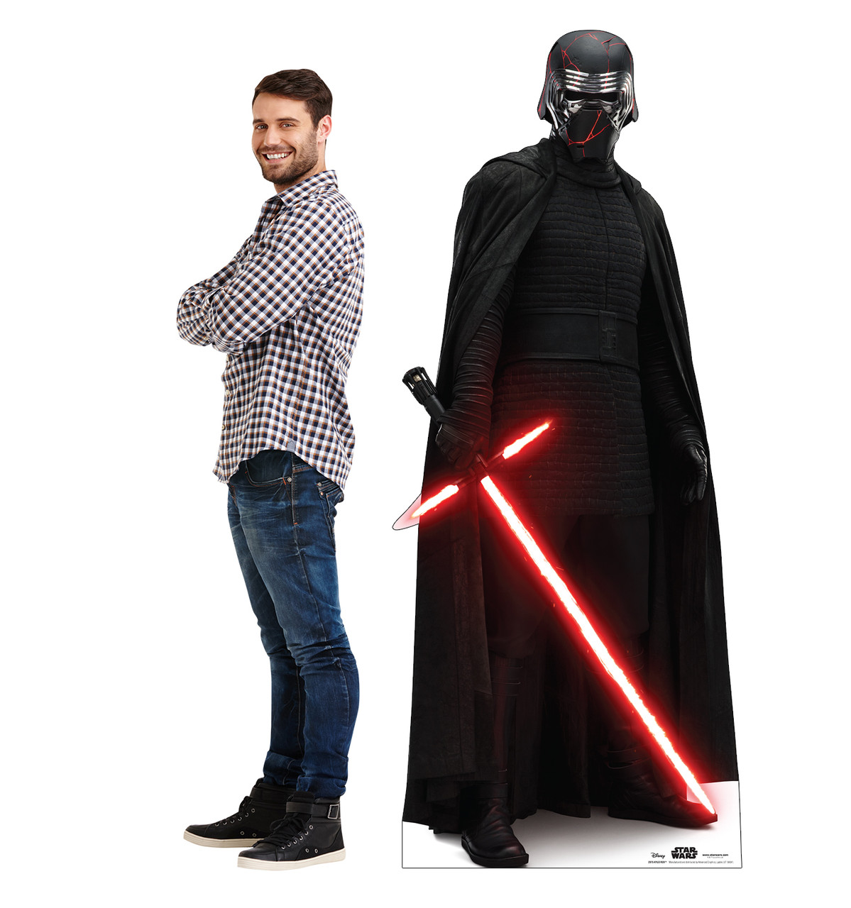 Life-size cardboard standee of Kylo Ren™ (Star Wars IX) with model.