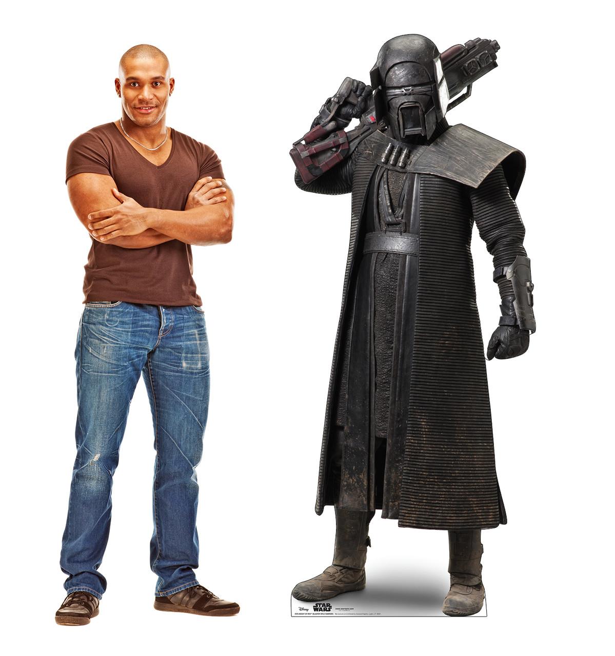 Life-size cardboard standee of Knight of Ren Blaster Rifle Warrior™ (Star Wars IX) with model.