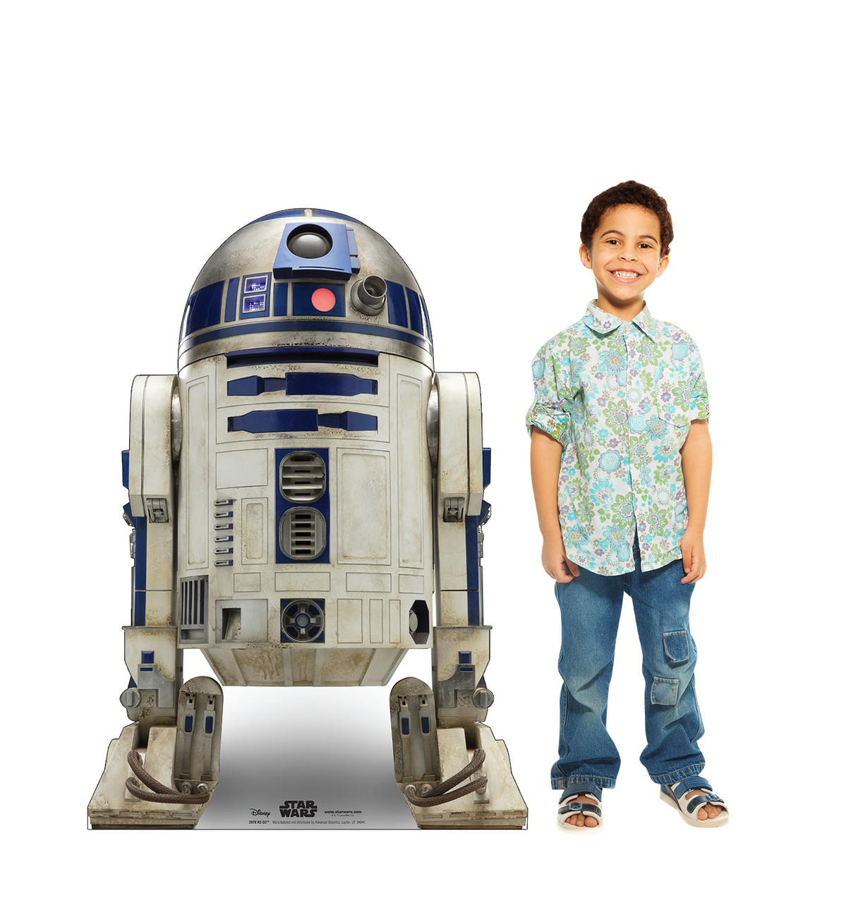 Life-size cardboard standee of R2-D2™ (Star Wars IX) with model.