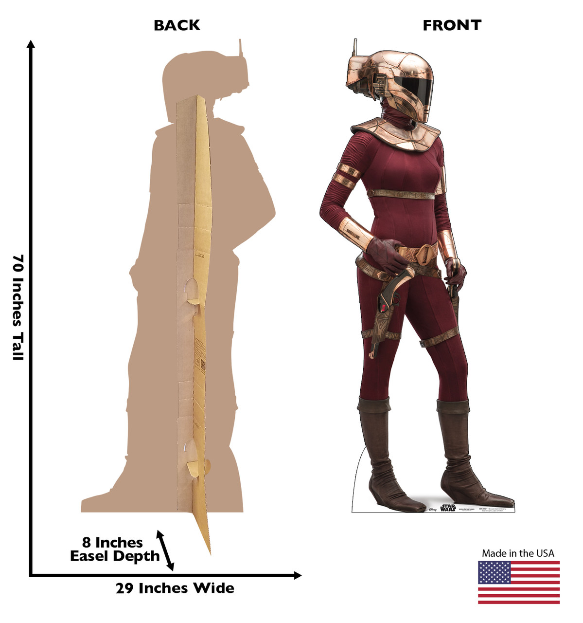 Life-size cardboard standee of Zorii™ (Star Wars IX) with back and front dimensions.