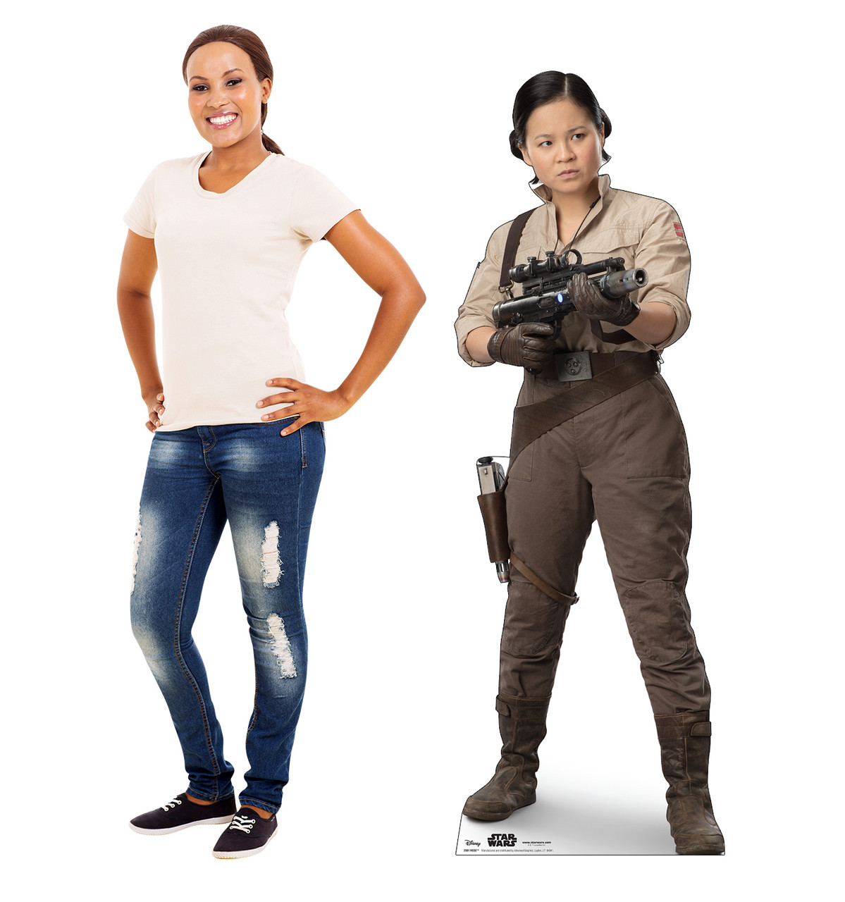 Life-size cardboard standee of Rose™ (Star Wars IX) with model.