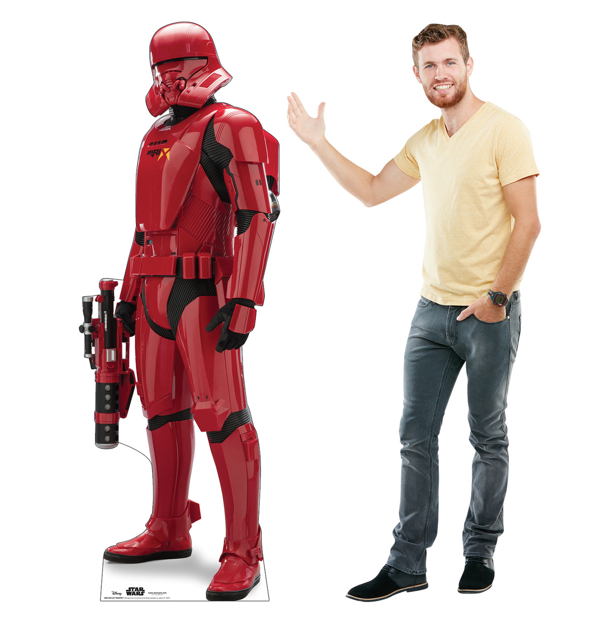 Life-size cardboard standee of Sith Jet Trooper™ (Star Wars IX) with model.