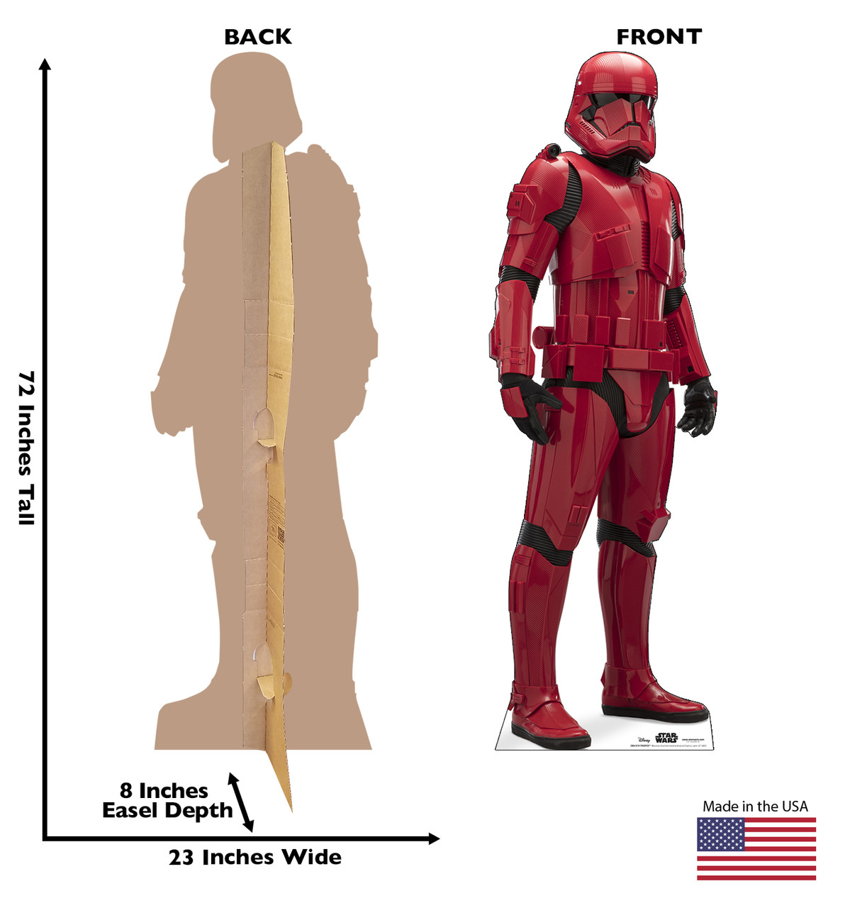 Life-size cardboard standee of Sith Trooper™ (Star Wars IX) with back and front dimensions.