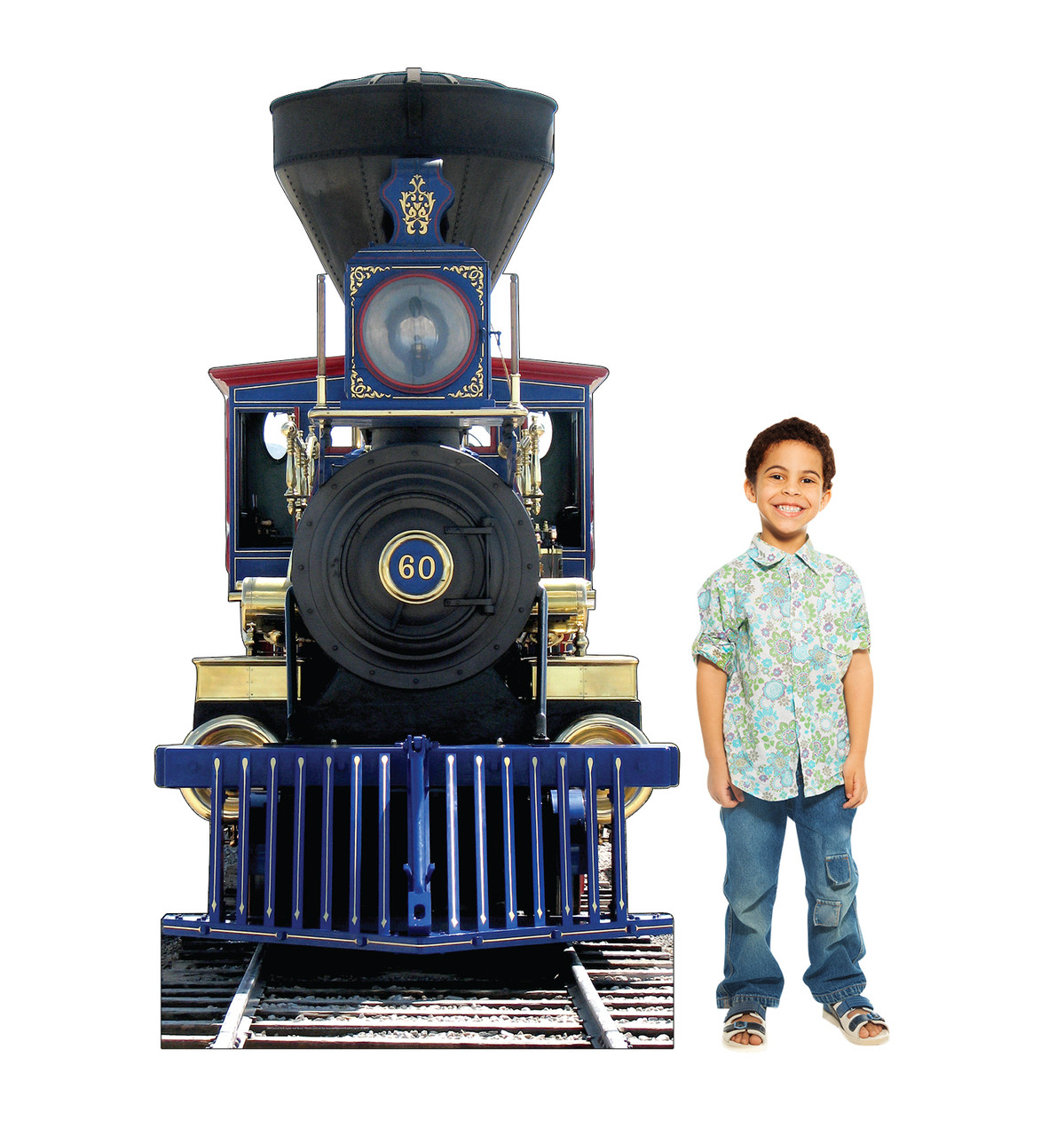 Life-size cardboard standee of CP60 Jupiter Train with model.