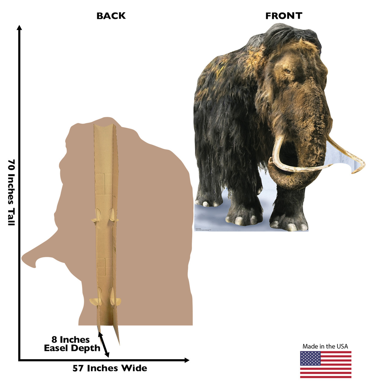 Life-size cardboard standee of the Woolly Mammoth with back and front dimensions.