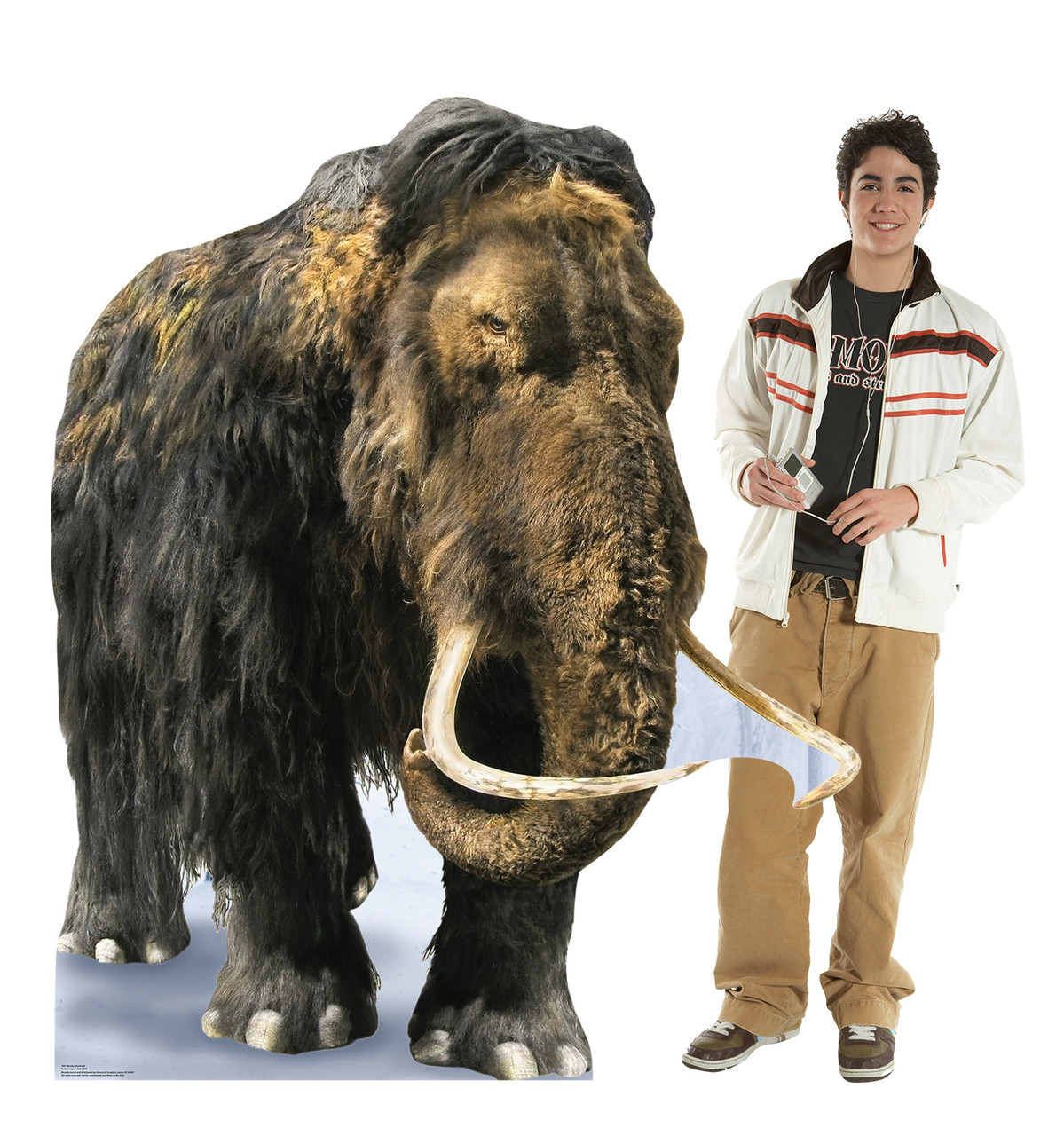 Life-size cardboard standee of the Woolly Mammoth with model.