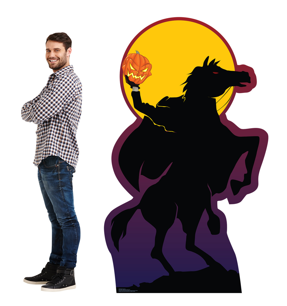 Life-size cardboard standee of the Headless Horseman with model.