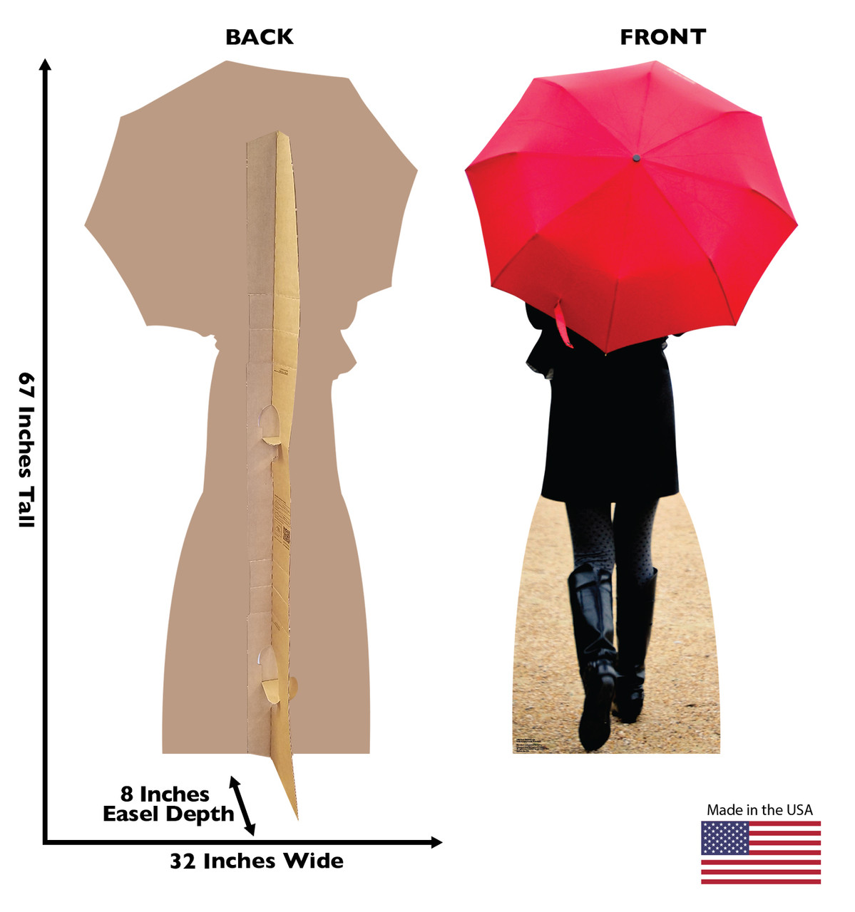 Life-size Paris Red Umbrella Cardboard Standup | Cardboard Cutout