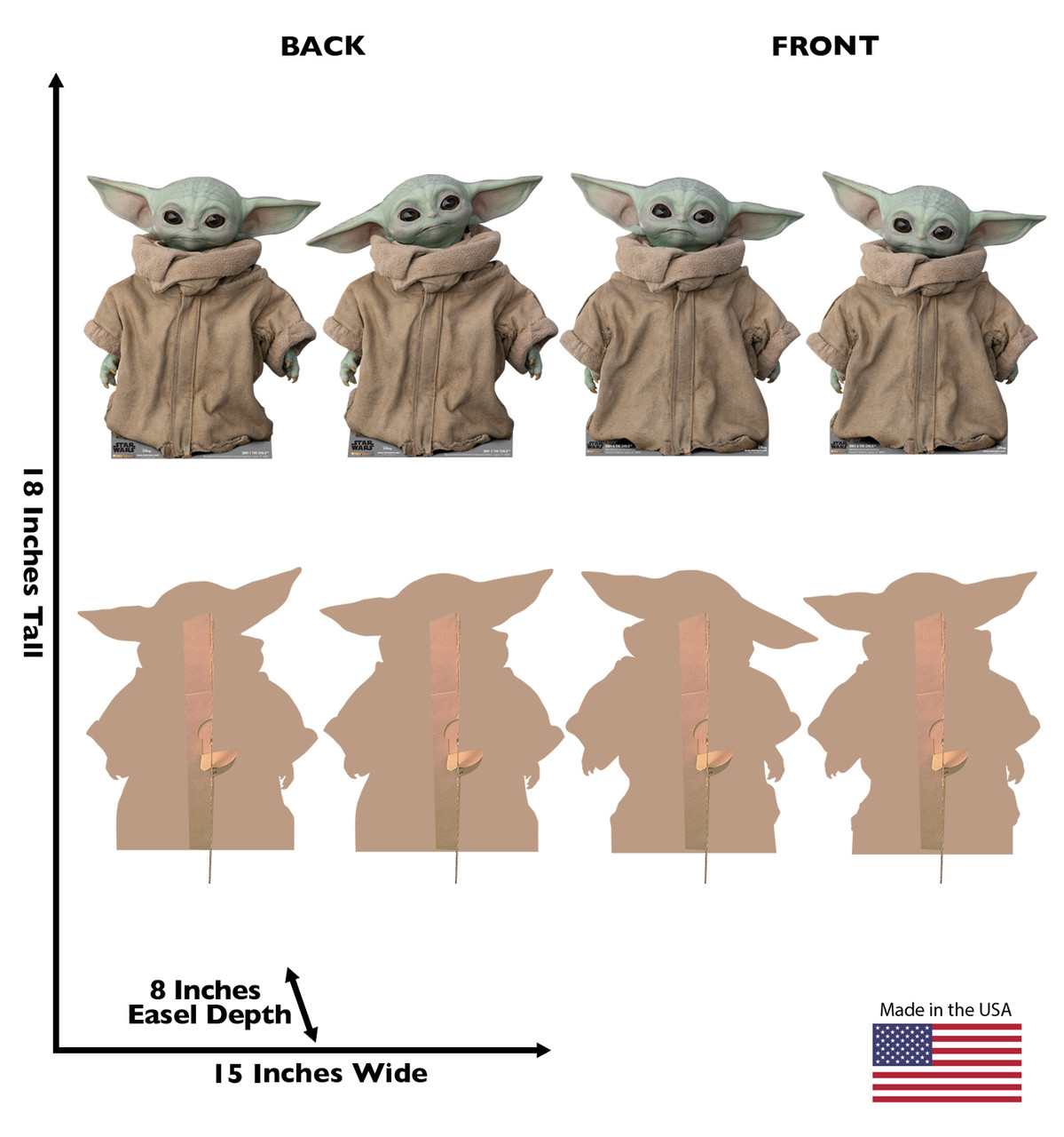 Life-size cardboard standee of THE CHILD fromThe Mandalorian with back and front dimensions. Set of 4.