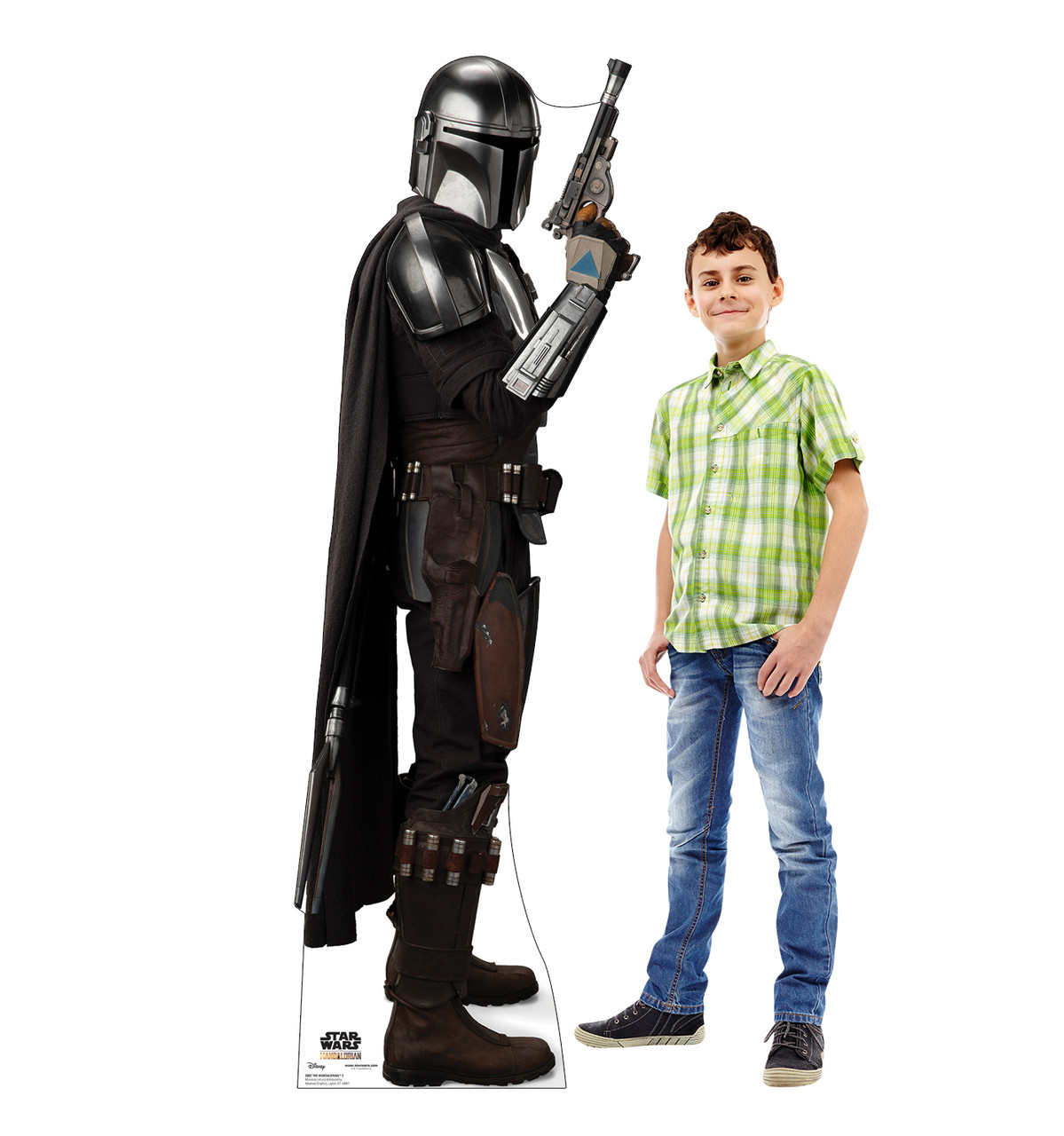Life-size cardboard standee of The Mandalorian fromThe Mandalorian with Model.