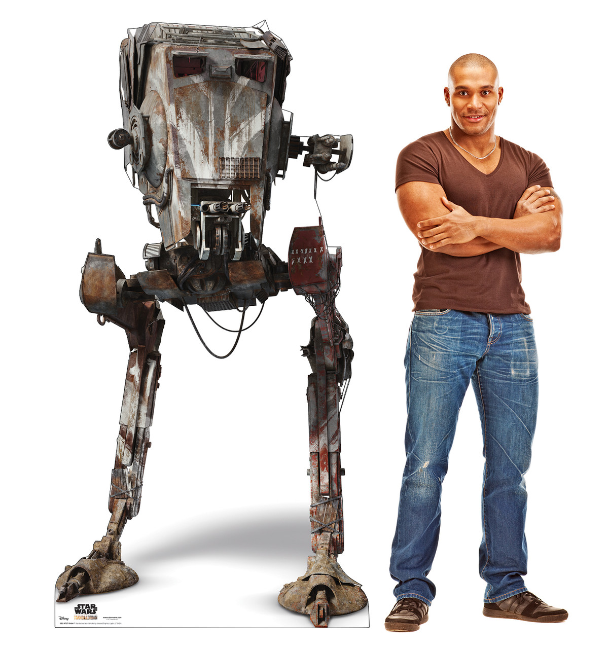 Life-size cardboard standee of AT-ST Raider from The Mandalorian with model.