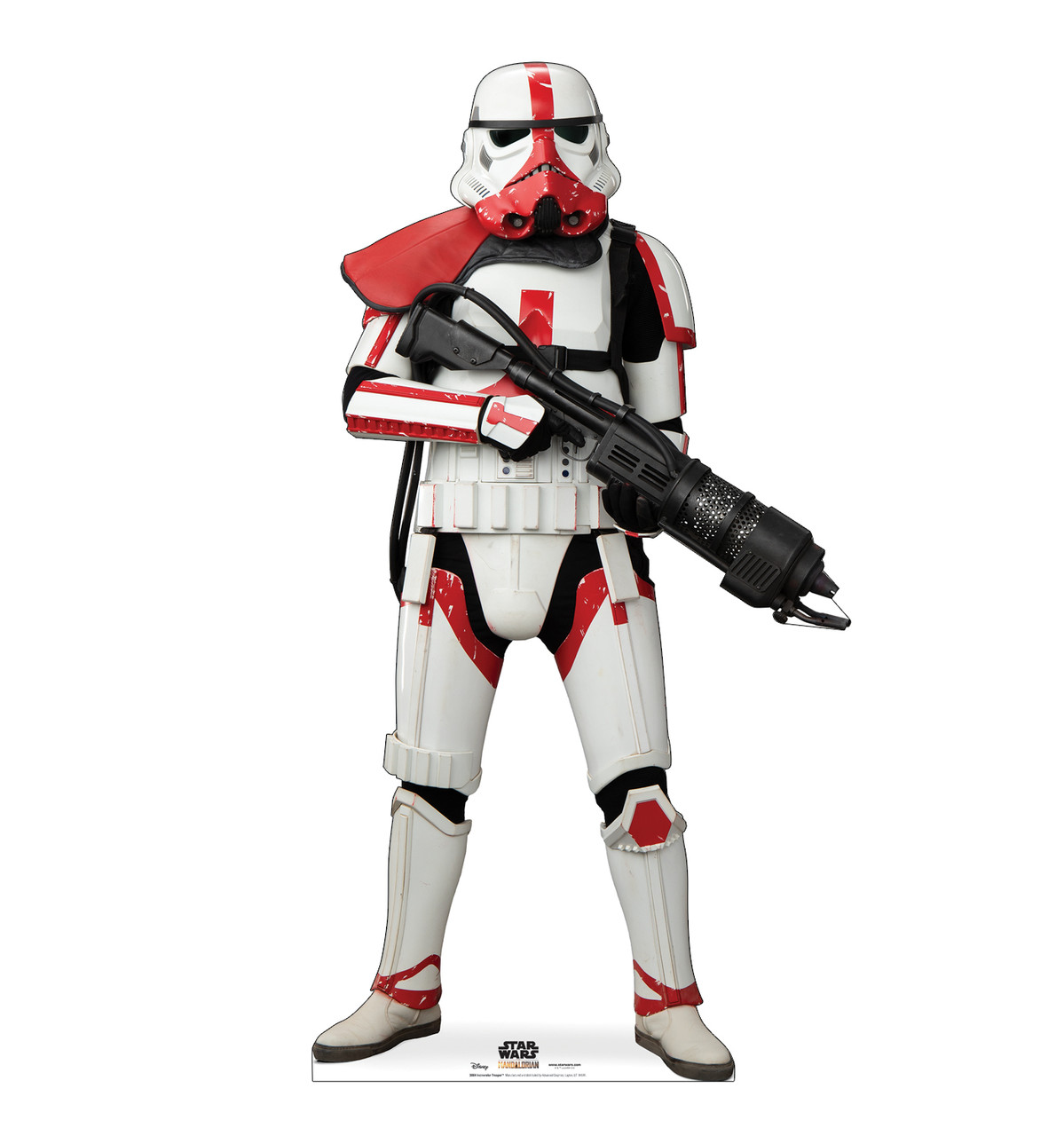 Life-size cardboard standee of Incinerator Trooper from The Mandalorian.
