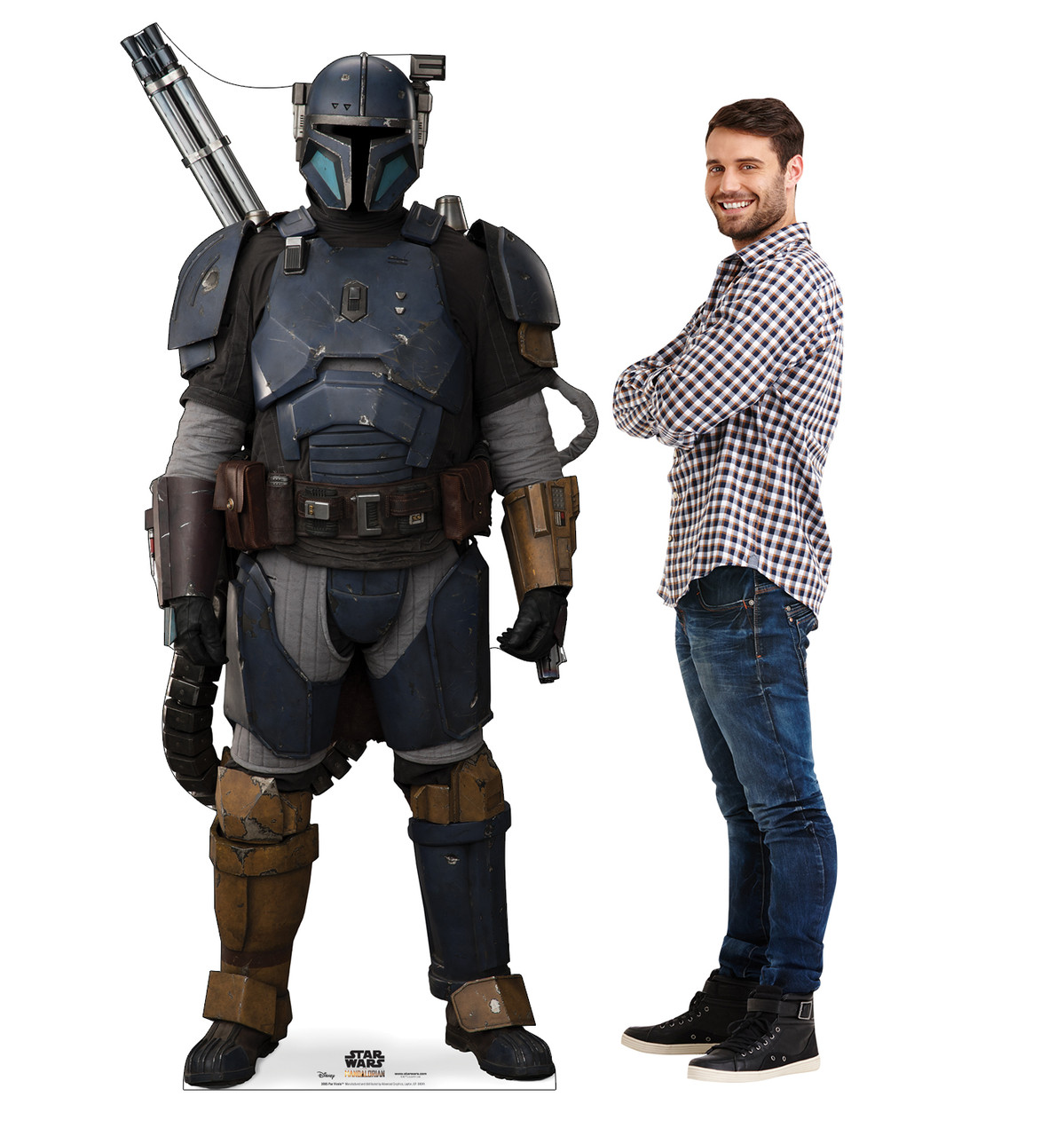 Life-size cardboard standee of Paz Vizsla from The Mandalorian with model.