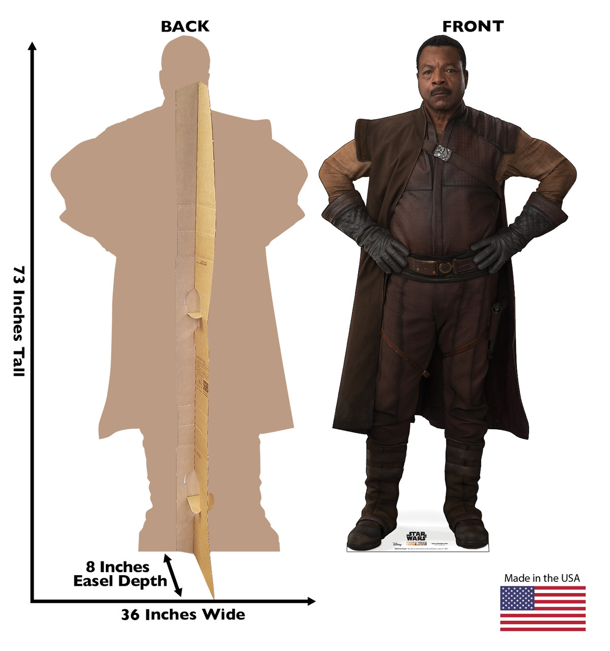Life-size cardboard standee of Greef Karga from The Mandalorian with back and front dimensions.