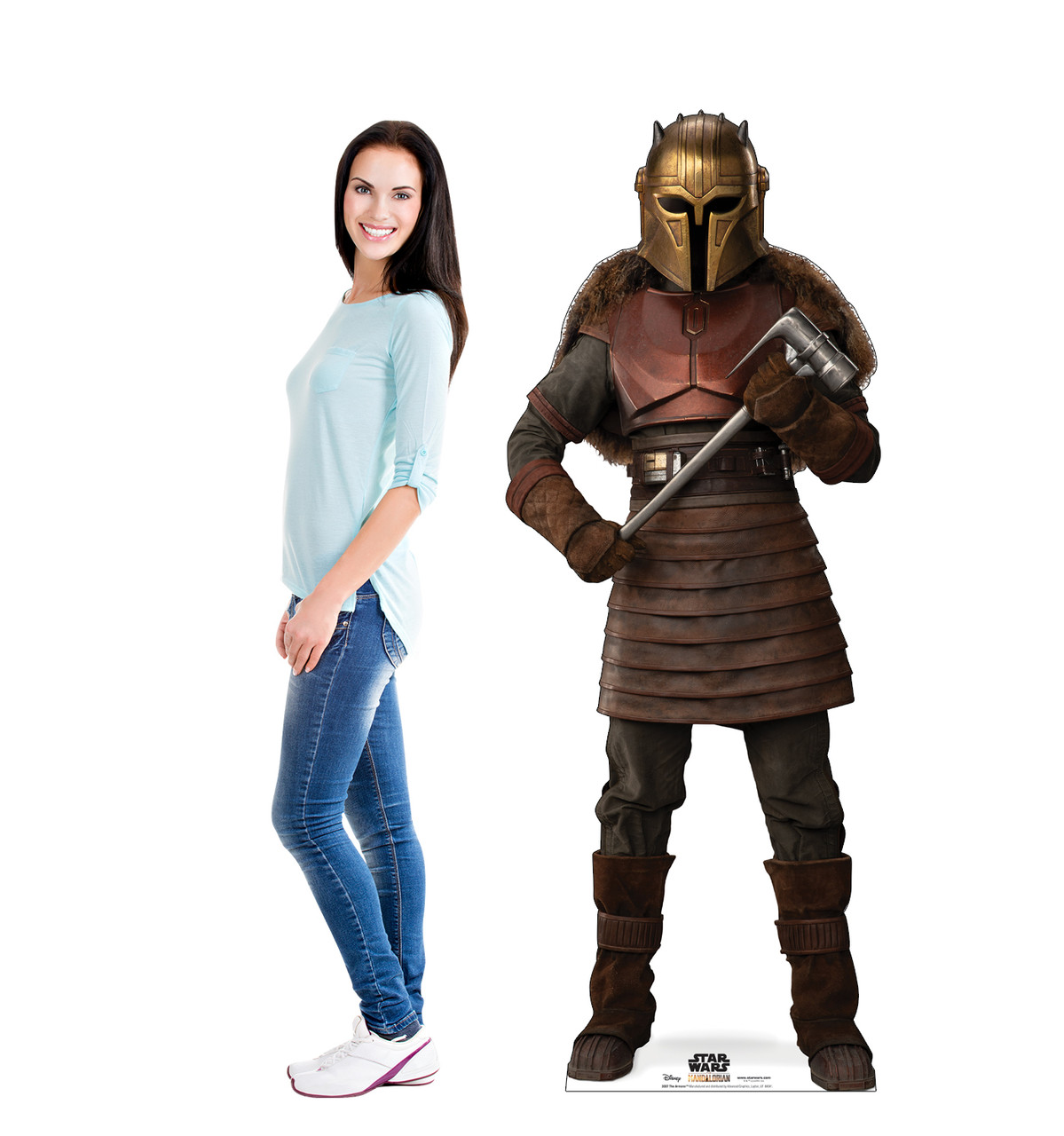 Life-size cardboard standee of The Armorer  from The Mandalorian with model.