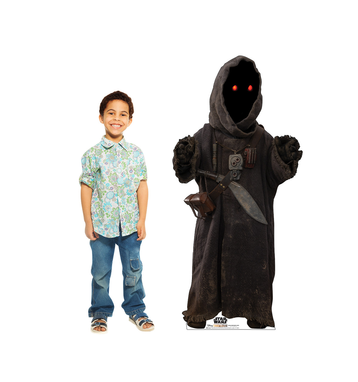 Life-size cardboard standee of Jawa from The Mandalorian with model.