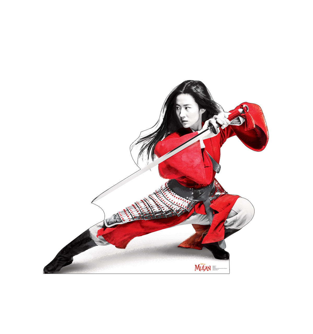 Life-size cardboard standee of Mulan from Disney's live action