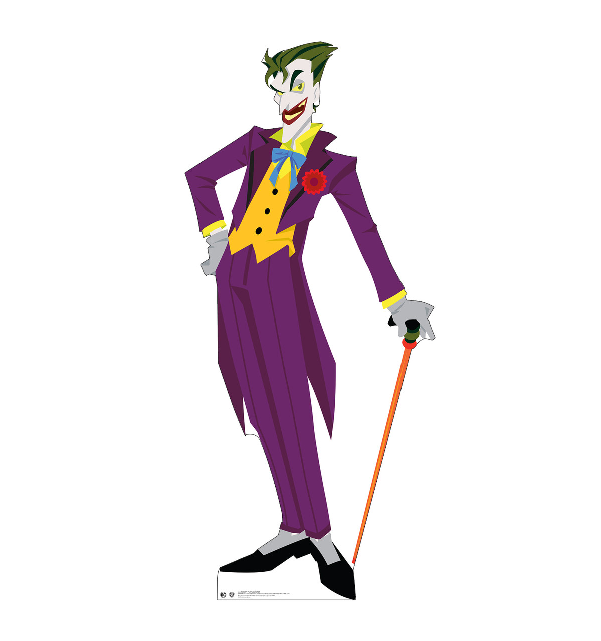 Life-size cardboard standee of The Joker in a purple suit.
