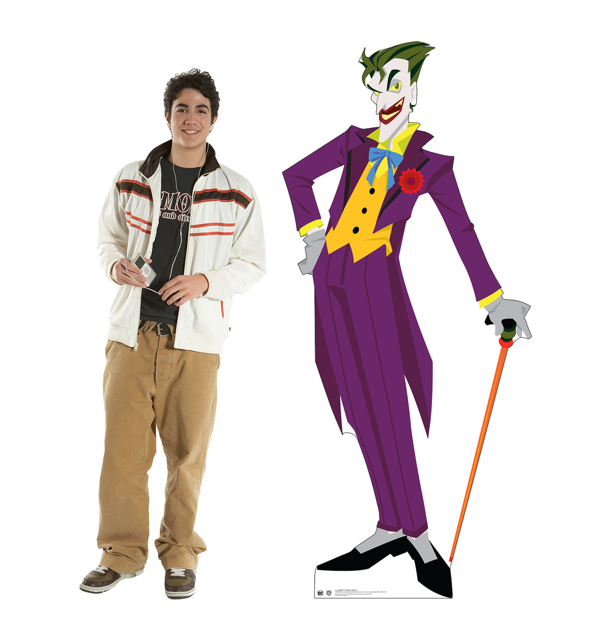 Life-size cardboard standee of The Joker in a purple suit with model.