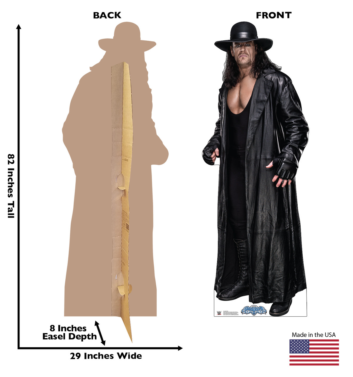 Life-size cardboard standee of the Undertaker from WWE with front and back dimensions.