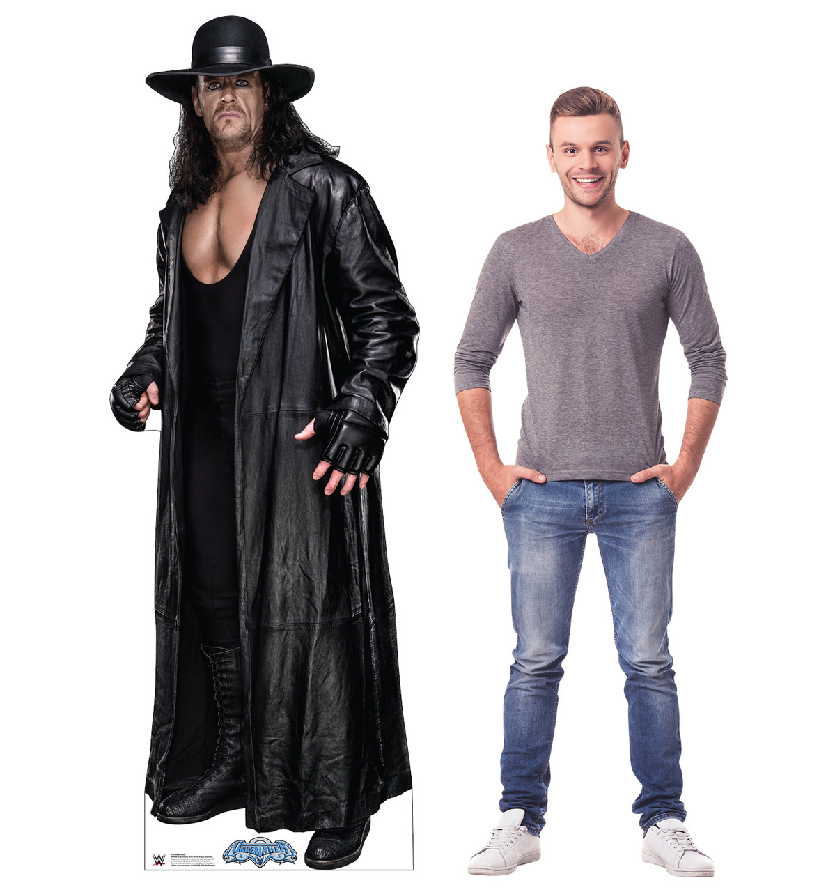 Life-size cardboard standee of the Undertaker from WWE with model.