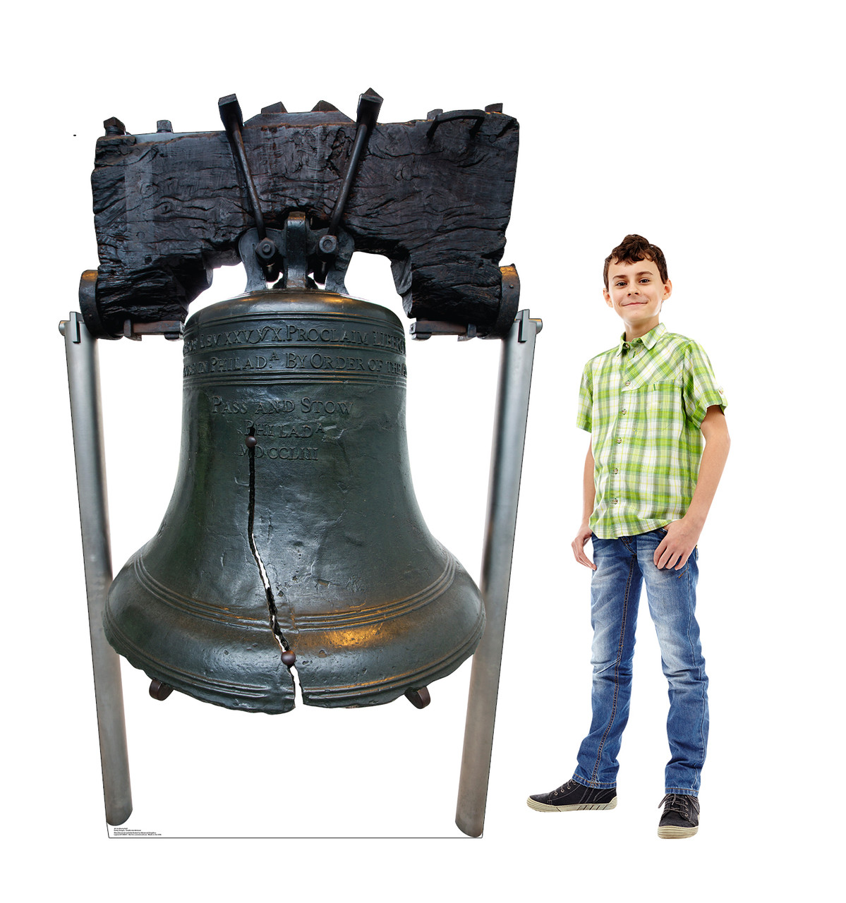 Life-size cardboard standee of the Liberty Bell with model.