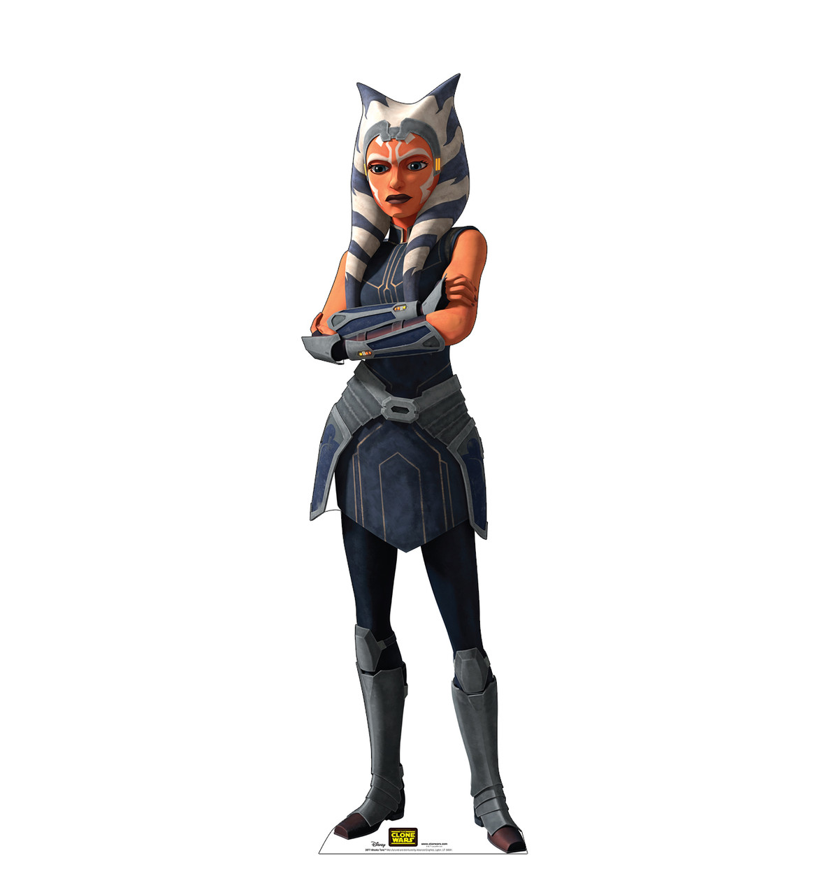 Life-size cardboard standee of the character Ahsoka Tano from Clone Wars Season 7.