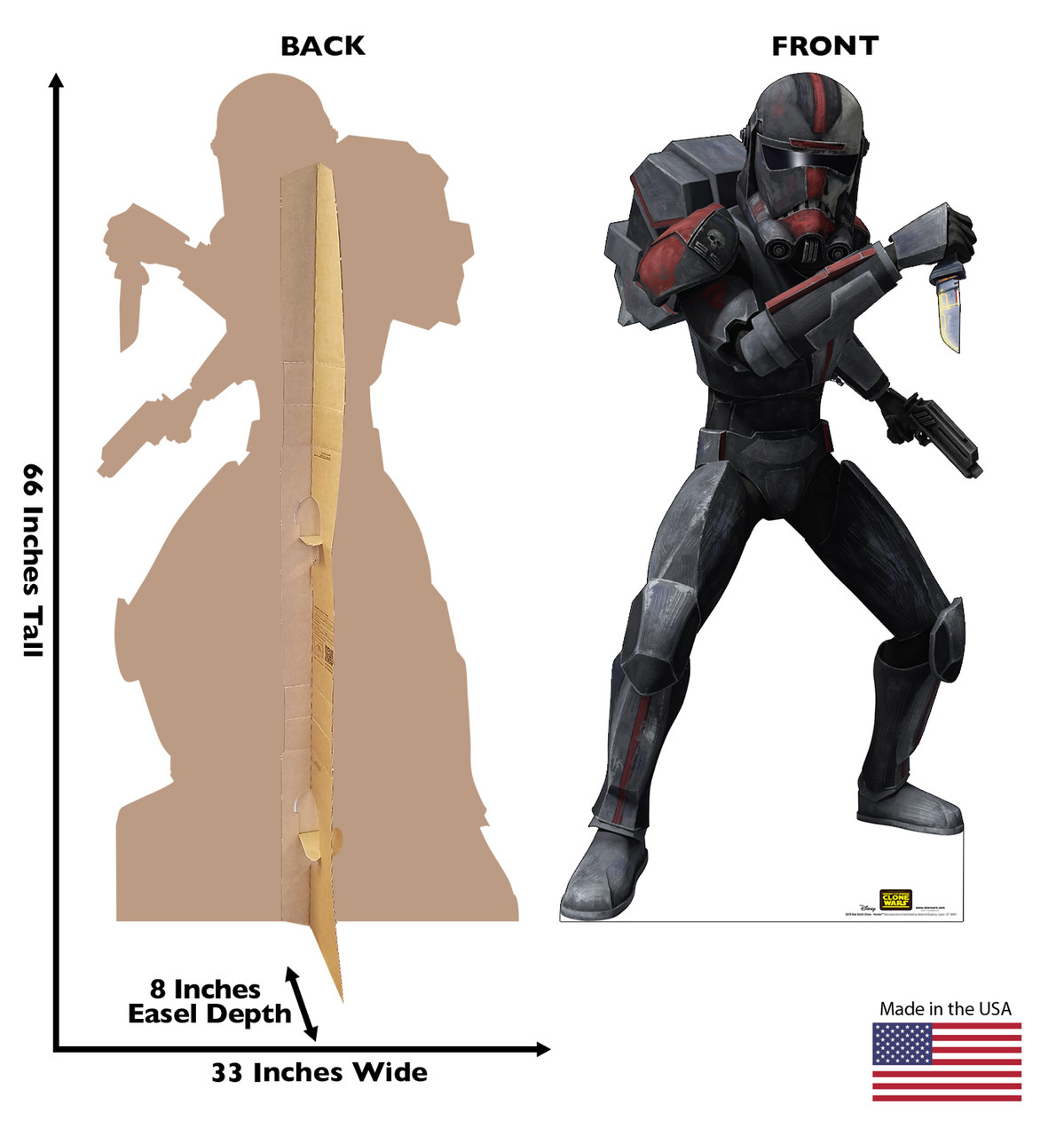 Life-size cardboard standee of the character Bad Batch Clone Hunter from Clone Wars Season 7 with front and back dimensions.