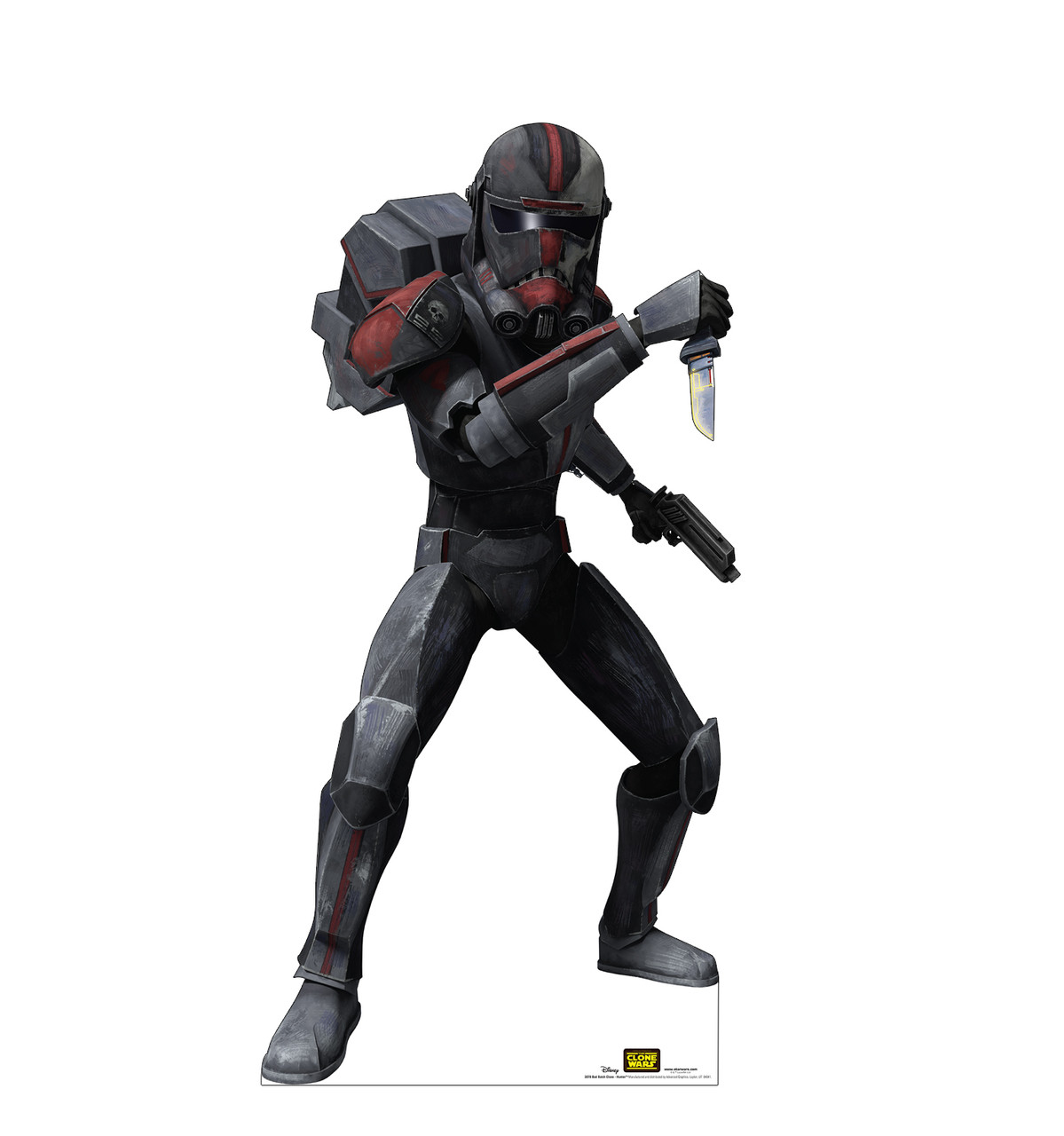 Life-size cardboard standee of the character Bad Batch Clone Hunter from Clone Wars Season 7.