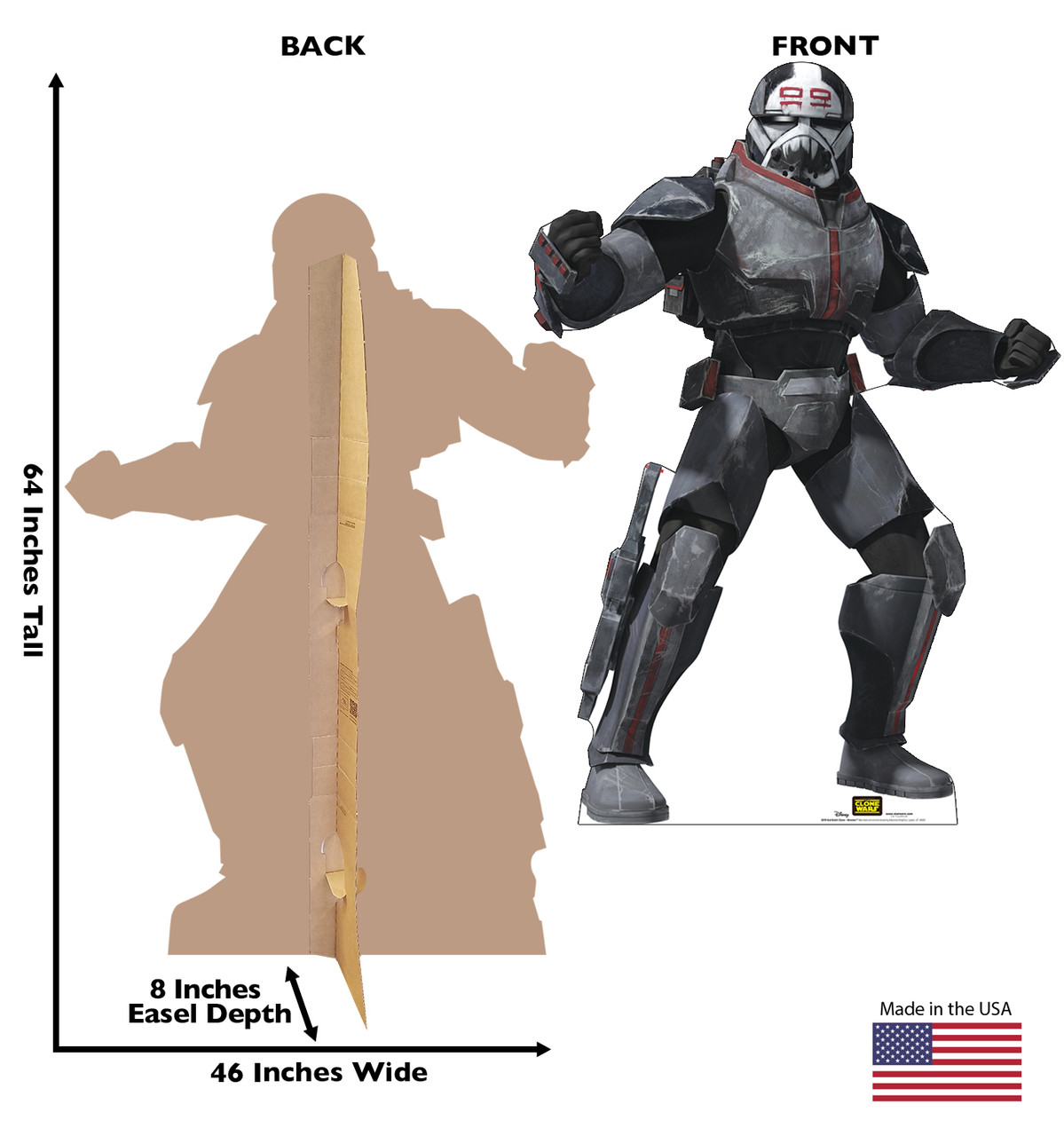 Life-size cardboard standee of the character Bad Batch Clone Wrecker from Clone Wars Season 7 with front and back dimensions.