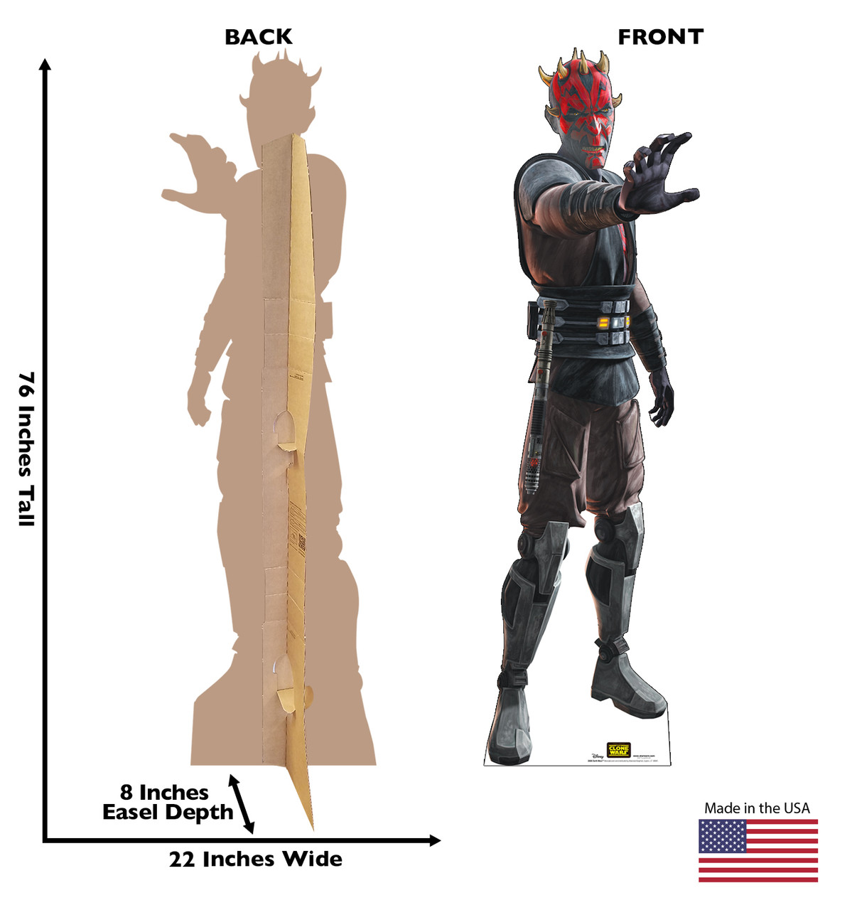 Life-size cardboard standee of the character Darth Maul from Clone Wars Season 7 with front and back dimensions.