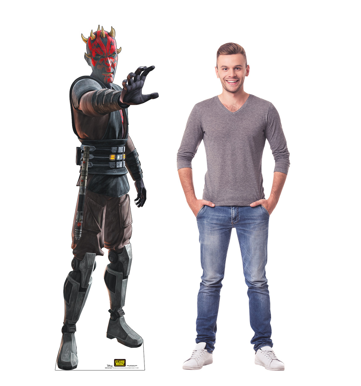 Life-size cardboard standee of the character Darth Maul from Clone Wars Season 7 with model.