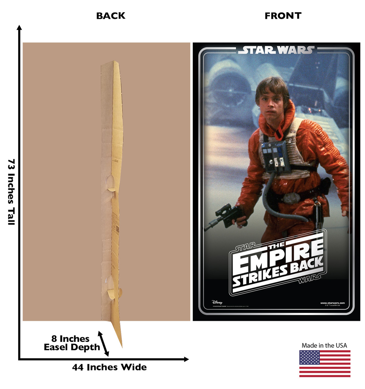 Life-size cardboard standee backdrop of Luke Skywalker. Celebrating 40 years, with front and back dimensions.