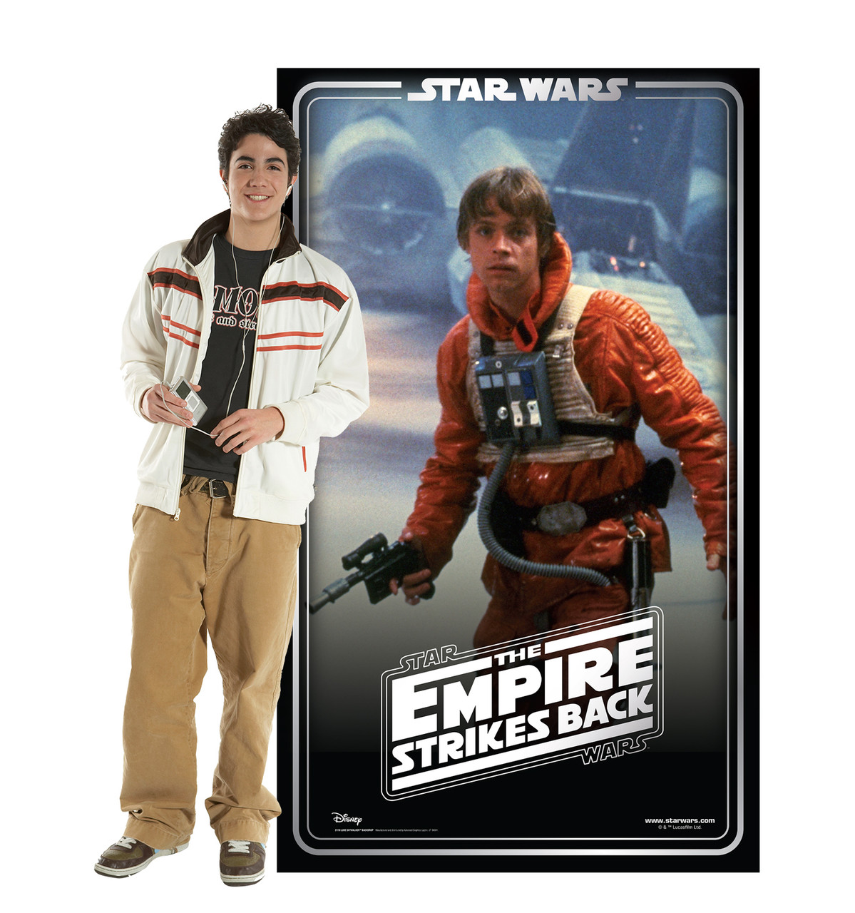 Life-size cardboard standee backdrop of Luke Skywalker. Celebrating 40 years, with model.