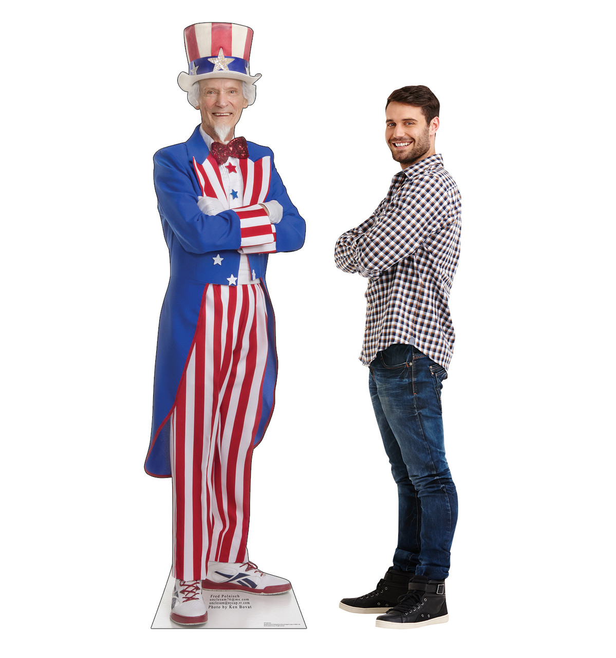 Life-size cardboard standee of Uncle Sam with model.