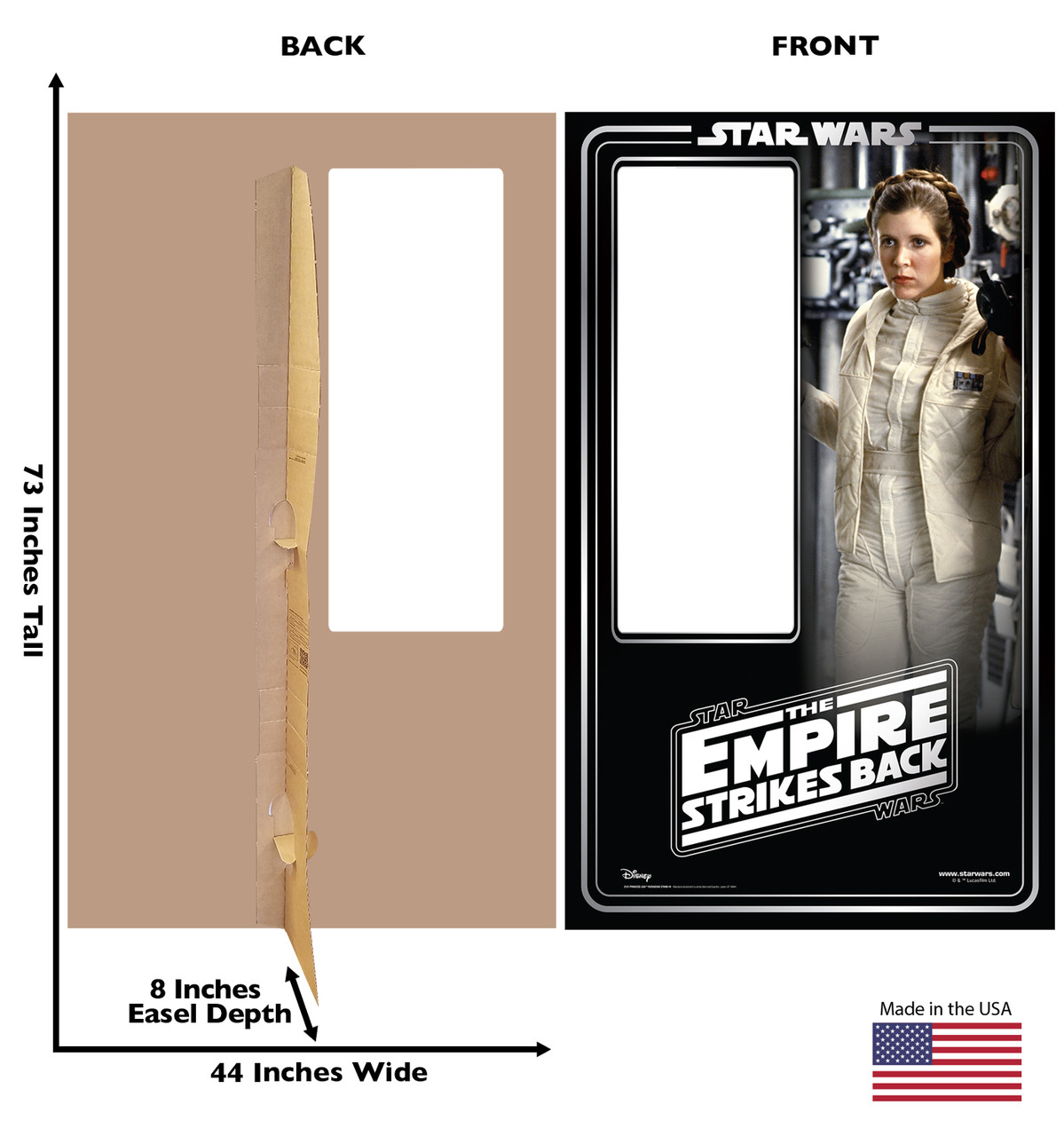Life-size cardboard standin of Princess Leia Packaging. Celebrating 40 years, with front and back dimensions.