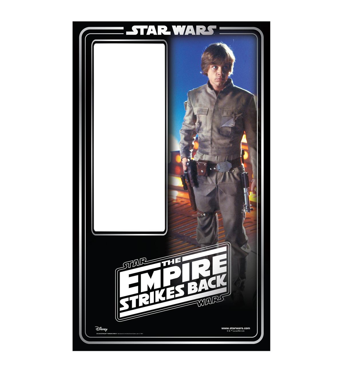 Life-size cardboard standin of Luke Skywalker Packaging. Celebrating 40 years.