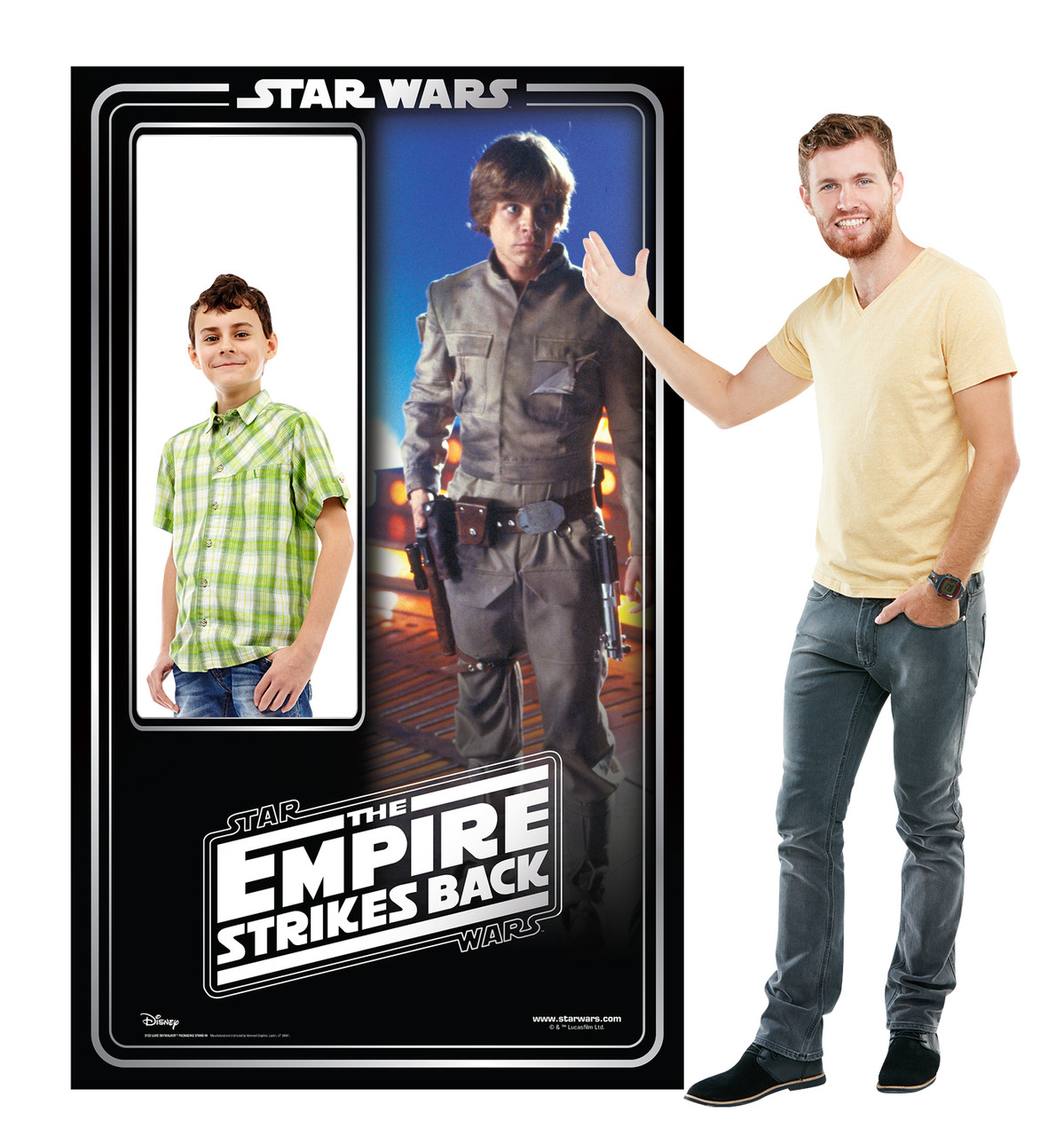 Life-size cardboard standin of Luke Skywalker Packaging. Celebrating 40 years, with model.