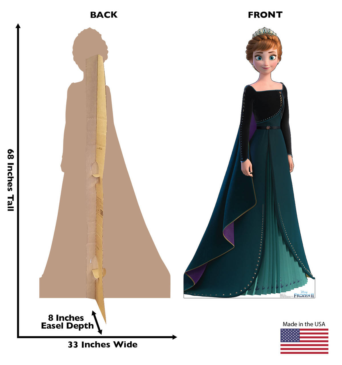 Life-size cardboard standee of Anna Epilogue Gown from Disney's Frozen 2 with back and front dimensions.