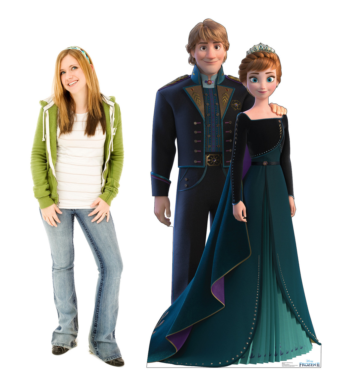 Life-size cardboard standee of Anna and Kristoff from Disney's Frozen 2 with model.